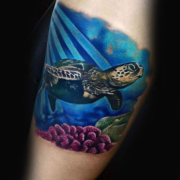 Mens Turtle Floating In Blue Ocean Water Arm Tattoos For Men