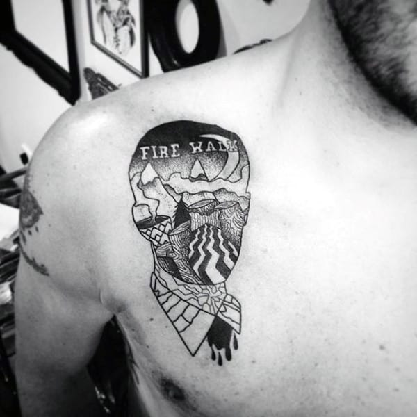 Mens Twin Peaks Fire Walk Upper Chest Tattoo Ideas