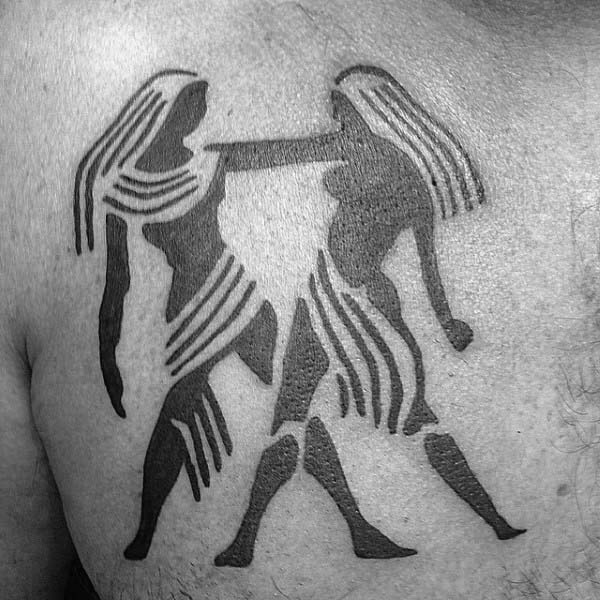 Mens Twins Castor And Pollux Gemini Chest Tattoo With Black Ink Design