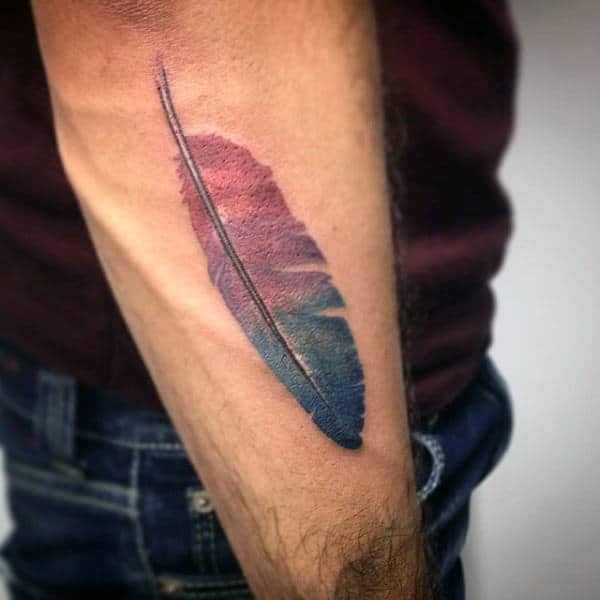 Mens Two Colored Feather Tattoo On Elbows