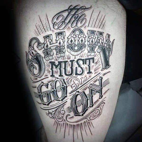 Mens Typography Tattoo Design Ideas Thigh