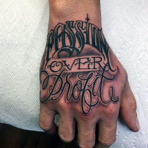 Mens Typography Tattoo Design Inspiration Hand