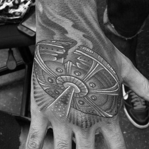 Mens Ufo Spaceship Shaded Hand Tattoos
