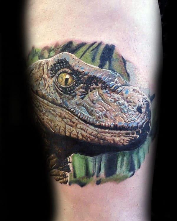 Mens Ultra Realistic 3d Velociraptor Head Tattoo On Inner Forearm