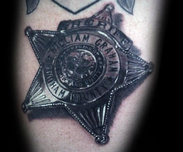 Mens Ultra Realistic Police Badge 3d Arm Tattoos