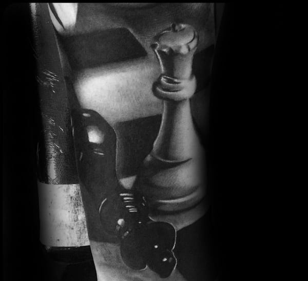 Mens Ultra Realistic Tattoo Of King Chess Piece With 3d Design