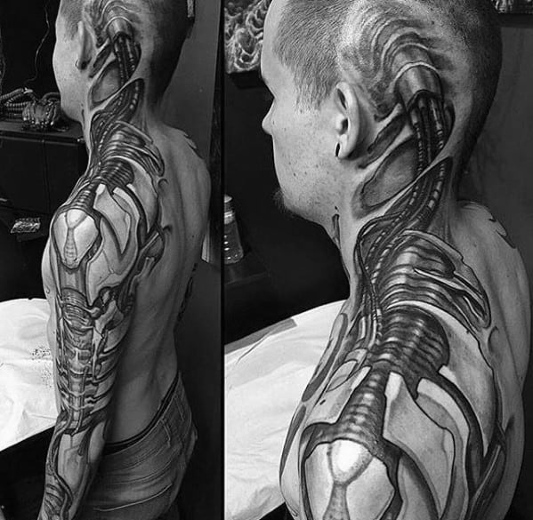 Mens Unbelievable 3d Ripped Skin Mechanical Gears Full Arm And Neck Tattoo