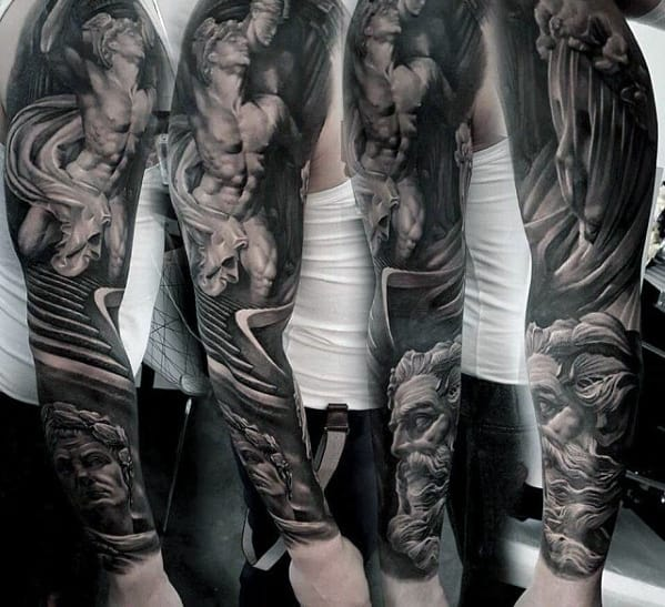 Mens Unbelievable Greek God Staircase Full Sleeve Tattoos