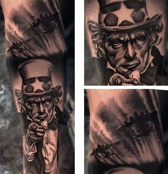 Mens Uncle Sam Tattoo Design Inspiration