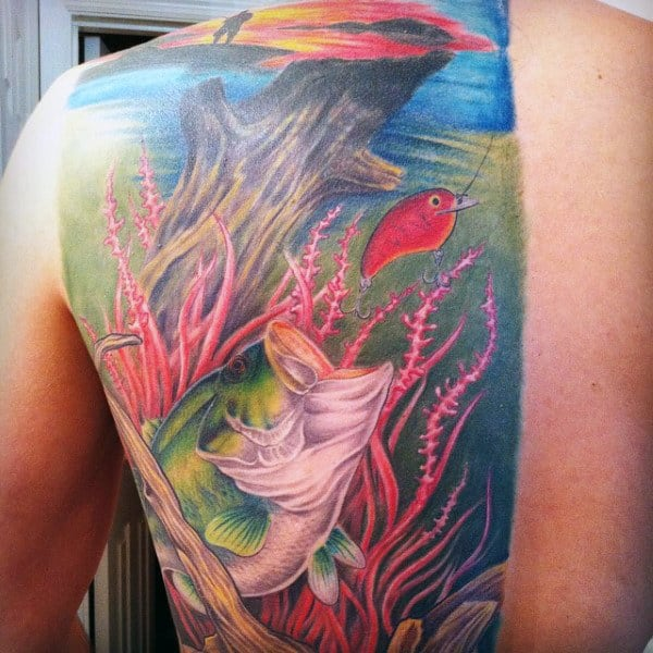 Mens Under Water Bass Fishing Creative Tattoo On Back