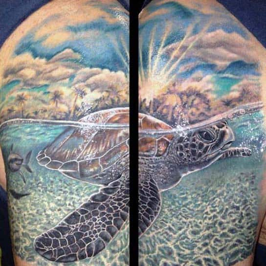 Mens Underwater Turtle Half Sleeve Tattoo With Clouds
