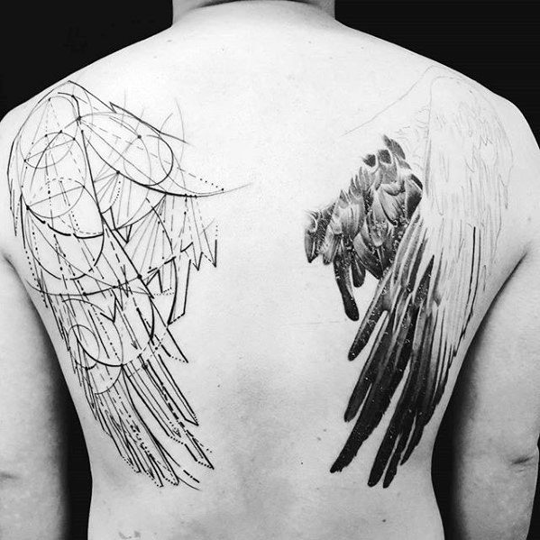 Mens Unique Back Geometric And Realistic Angel Wings Tattoo