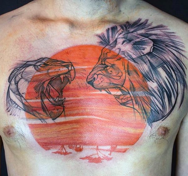 Mens Unique Chest Orange Sun With Lions Tattoo
