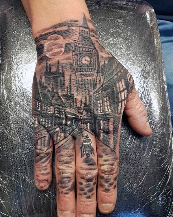 Mens Unique City Downtown Street Tattoo On Hand