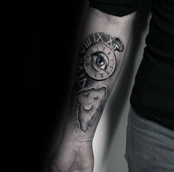 Mens Unique Forearm Pizza With Pocket Watch Tattoo