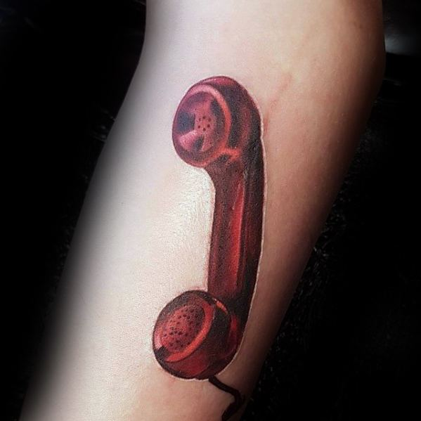 Mens Unique Forearm Red Telephone 3d Tattoo
