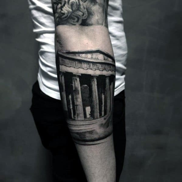 Mens Unique Forearm Roman Building Tattoo
