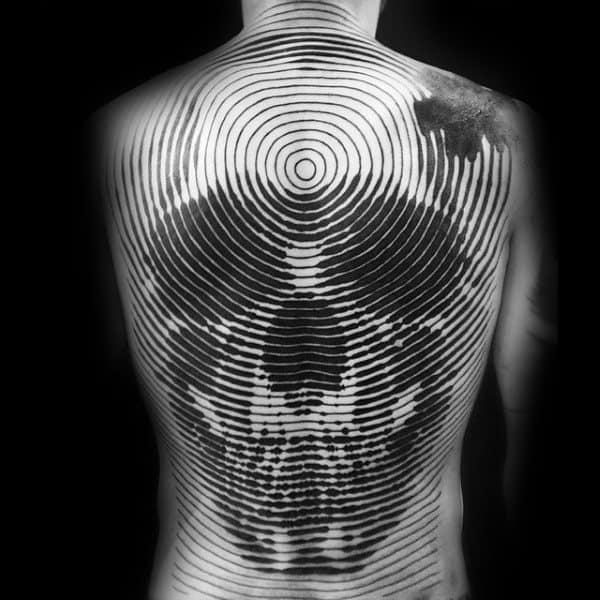 Mens Unique Full Back Skull Circular Tattoos
