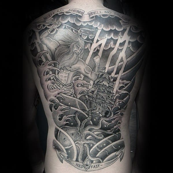Mens Unique Greek God Full Back Black And Grey Shaded Tattoos