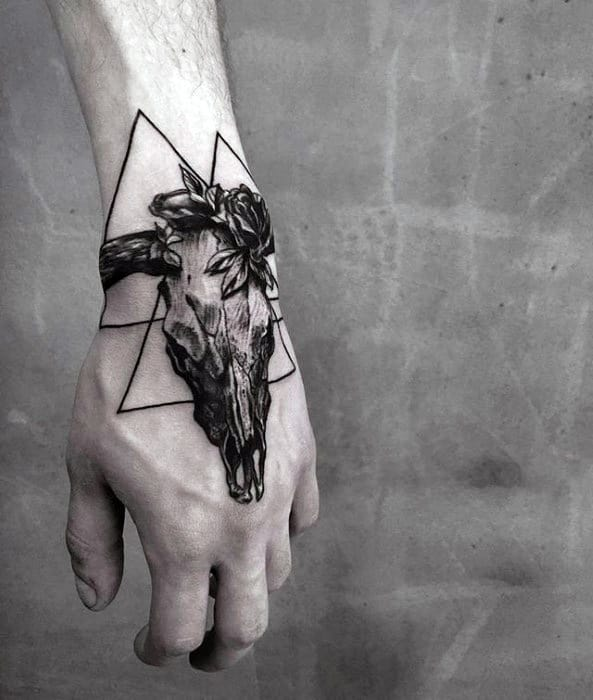 Mens Unique Hand Animal Skull Geometric Tattoos