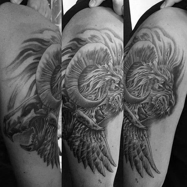 Mens Unique Lion Skull Wing Arm Tattoo