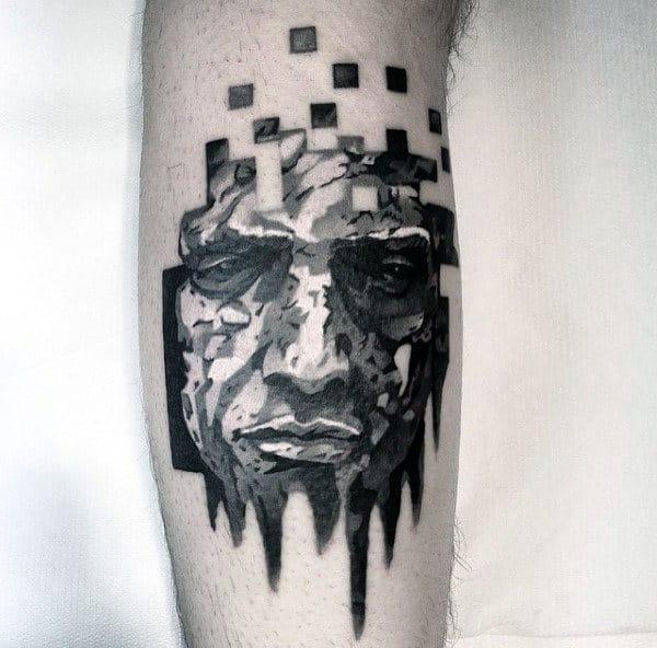 Mens Unique Portrait Watercolor Tattoos
