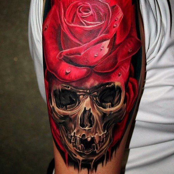 Mens Unique Skull Rose Flower Arm Tattoos