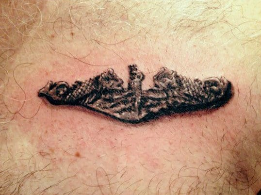 Mens United States Navy Pin Upper Chest Tattoo