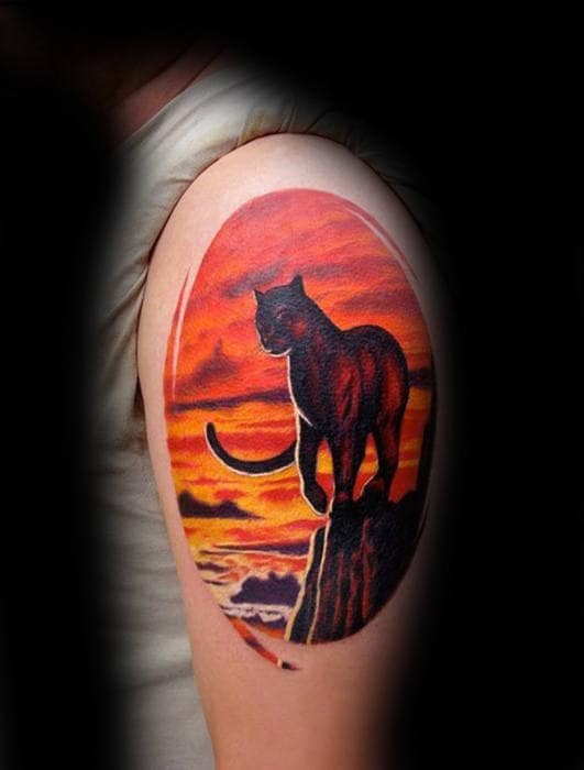 Mens Unusual Upper Arm Big Cat Sunset Tattoos