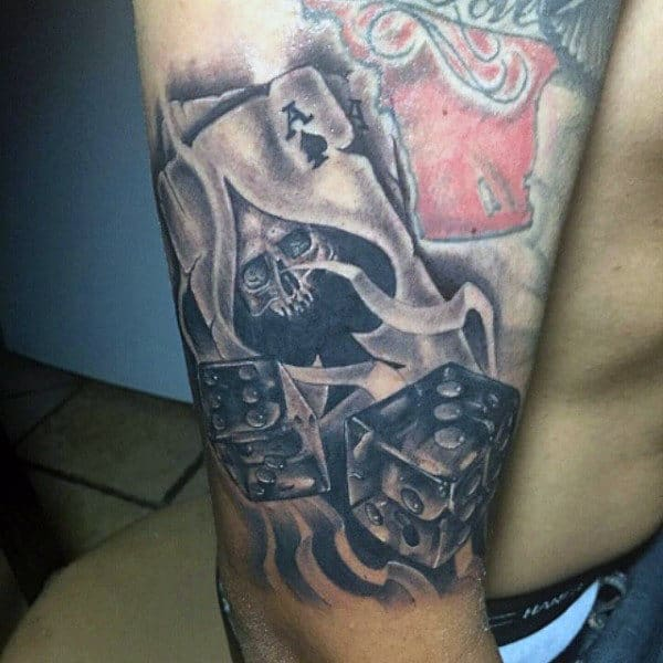 Mens Upper Arm Ace Of Spades And Dice Tattoo