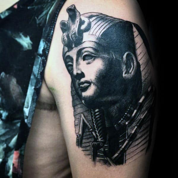 Mens Upper Arm Black Ink King Tut Tattoo Designs