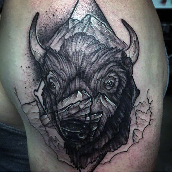 Mens Upper Arm Black Ink Shaded Bison Tattoo
