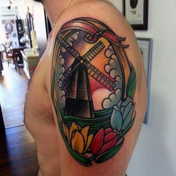 Mens Upper Arm Floral Windmill Tattoo Designs