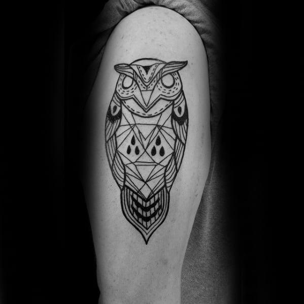 Mens Upper Arm Geometric Owl Black Lines Tattoo Design