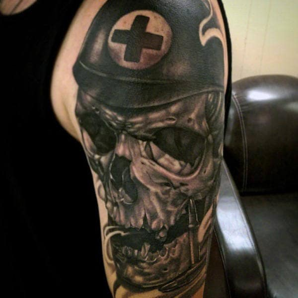 Mens Upper Arm Interesting Tattoo Of Paramedic Skull