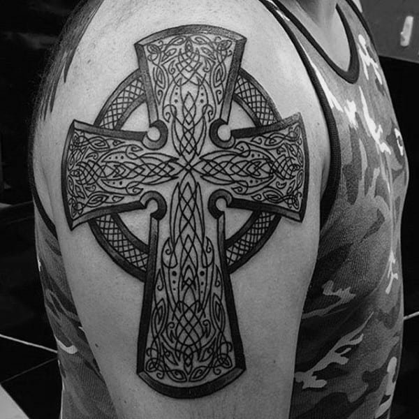Mens Upper Arm Linework Detailed Celtic Cross Tattoo Ideas