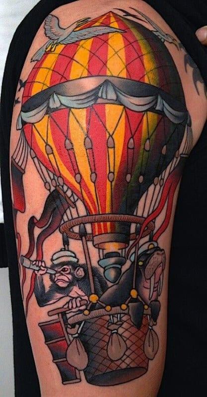 Mens Upper Arm Monkey Hot Air Balloon Tattoos