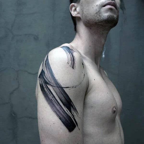 Mens Upper Arm Painted Brush Stroke Tattoo Design With Black Ink