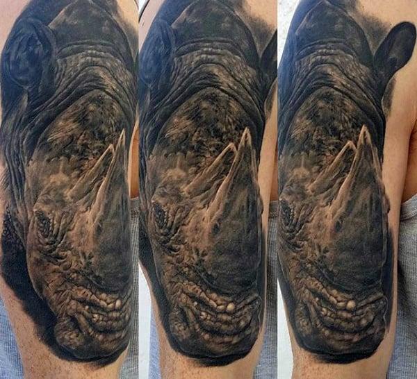 Mens Upper Arm Realistic Rhinoceros Tattoos