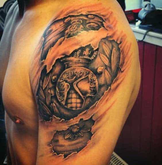Mens Upper Arm Ripped Skin Tattoo