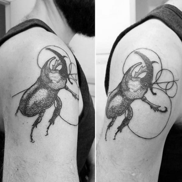 mens upper arm scarab circles tattoo designs