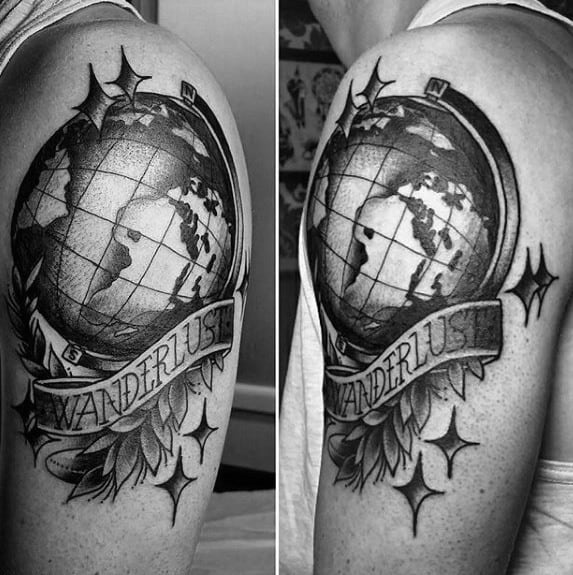 Mens Upper Arm Shaded Traditional Wanderlust Tattoo