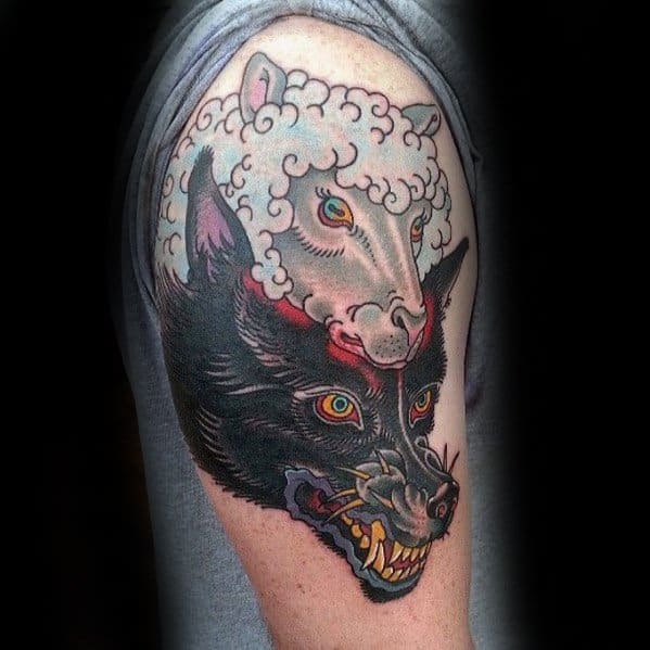 Mens Upper Arm Tattoo With Wolf In Sheeps Clothing Design