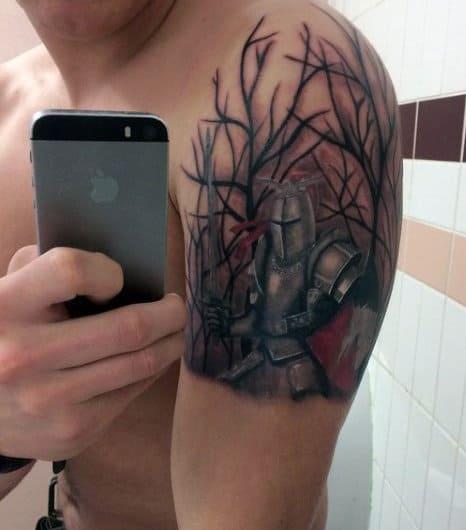 Mens Upper Arm Woods Knight Armor Tattoo