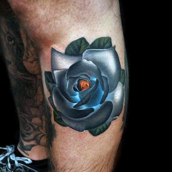 Mens Upper Arms Cool Glowing Blue Centered Rose Tattoo
