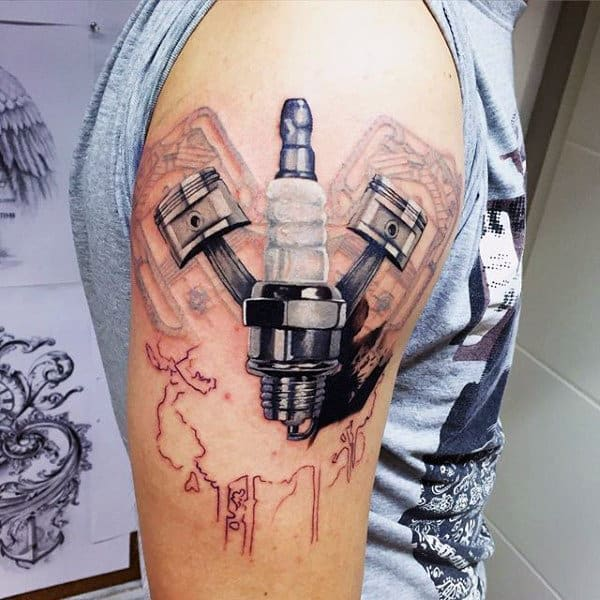 Mens Upper Arms Engine Tattoo