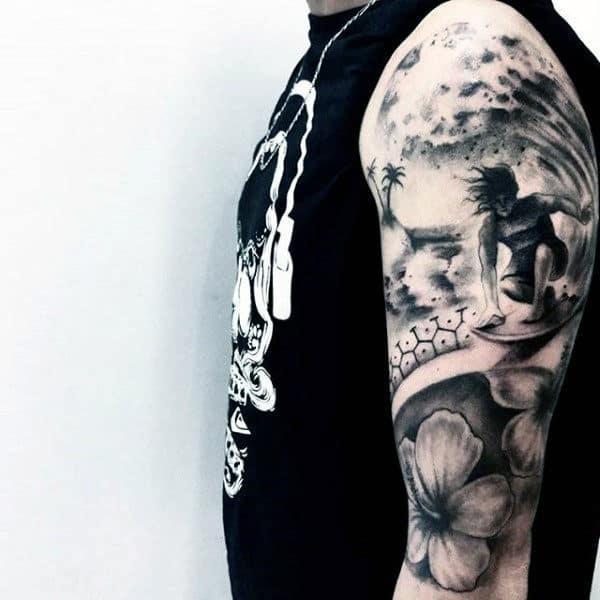 Mens Upper Arms Grey Surf Tattoo