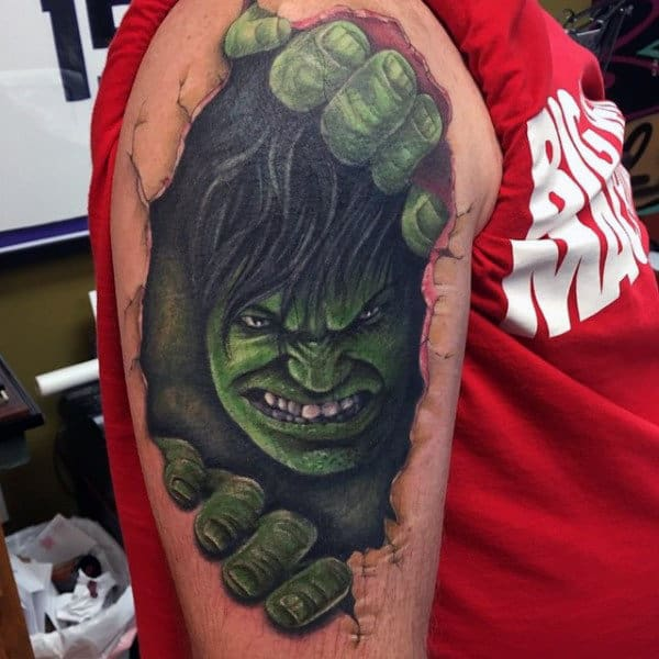 Mens Upper Arms Hulk Opening Crack Tattoo