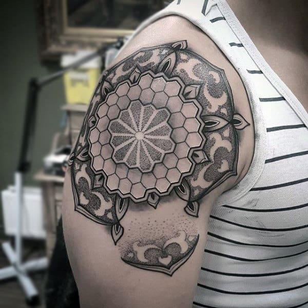 Mens Upper Arms Mandala Shape Honeycomb Tattoo