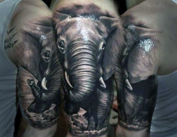 Mens Upper Arms Shiny Grey Elephant Tattoo